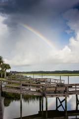 Rainbow over inlet docks