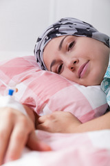 Girl with leukaemia lying