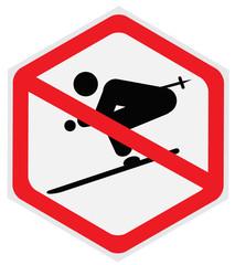 No skiing sign, hexagon