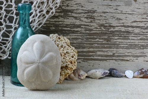Sea Themed Background with Rustic Wood and Decorative Fishing Ne