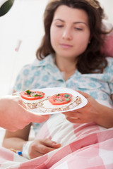 The first meal for girl in hospital