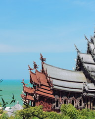 the wooden Church of truth in Thailand