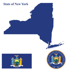 Flag of State of New York and state seal