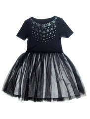 black dress with a pattern of stars