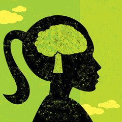 Woman thinking green