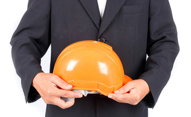 Businessman with construction helmet. Isolated on white backgrou