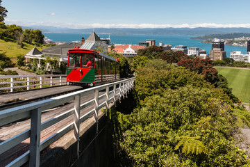 Wellington Cable Car driving uphill