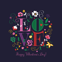 "Valentine's Day greeting card design with word ""Love"" and flower"
