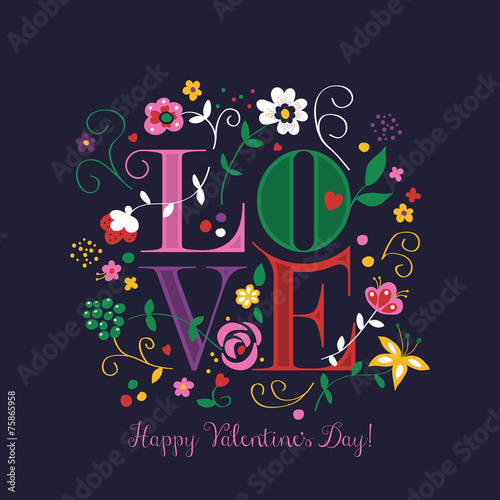 Valentine's Day greeting card design with word