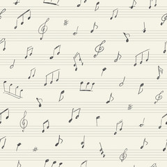 Music seamless pattern with handwritten musical notes