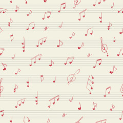 Heart shape musician notes. Seamless pattern