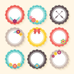 Spring flower tags and frames with trendy patterns for design