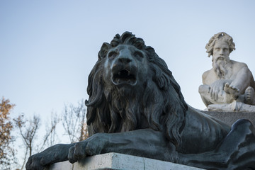 Bronze lion sculpture, oldest street in the capital of Spain, th