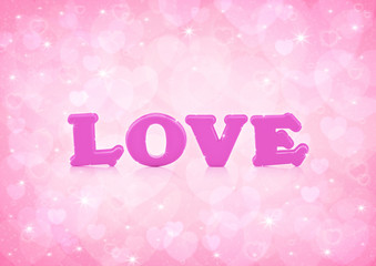Love word on light pink heart bokeh background
