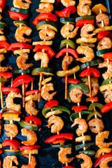shrimp kebabs, teriyaki