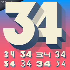 Vector alphabet of simple and generic 3d letters. Numbers 3 4