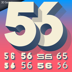 Vector alphabet of simple and generic 3d letters. Numbers 5 6