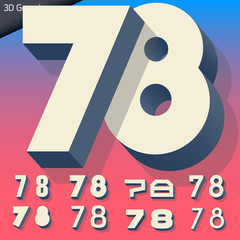Vector alphabet of simple and generic 3d letters. Numbers 7 8