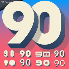 Vector alphabet of simple and generic 3d letters. Numbers 9 0