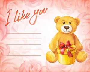 Teddy bear with a gift on a background of pink roses.
