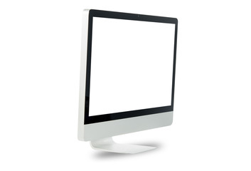 White computer monitor isolated