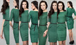 Collage, Young beautiful woman in green dress