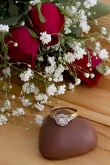 Roses with Diamond Ring on Heart Chocolate