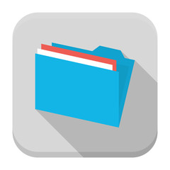 Blue folder with paper flat app icon with long shadow
