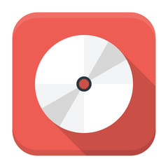 CD disc flat app icon with long shadow