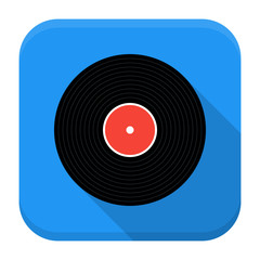 Music vinyl record flat app icon with long shadow