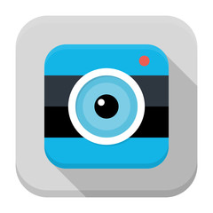 Photo camera flat app icon with long shadow