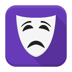 Sad mask app icon with long shadow