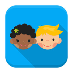 Smiling boy and girl faces app icon with long shadow