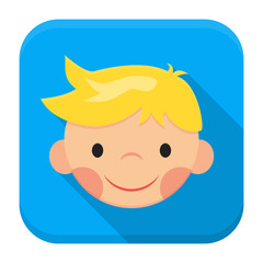 Smiling boy face app icon with long shadow