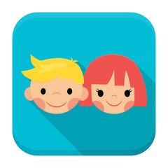 Smiling children faces app icon with long shadow