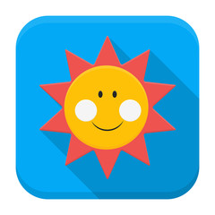 Smiling sun over sky app icon with long shadow