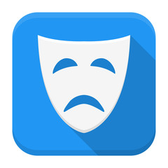 Tragedy mask app icon with long shadow