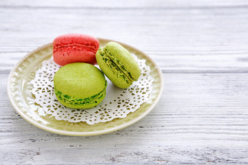 Delicious macaroons on a plate