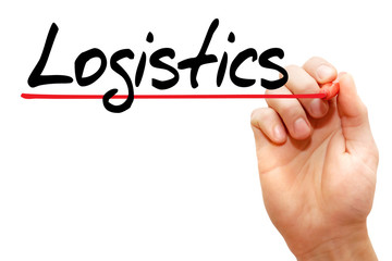 Hand writing Logistics with marker, business concept