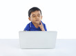 Indian Little Boy Thinking with Laptop