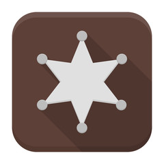 Sheriff star flat app icon with long shadow