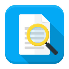 Document search app icon with long shadow