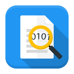 Document magnifying app icon with long shadow
