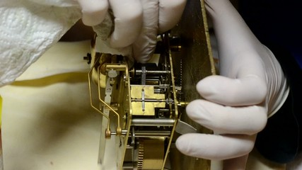 watchmaker, overhauls mechanical system, antique pendulum clock