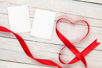 Photo frame cards with valentines heart shaped ribbon