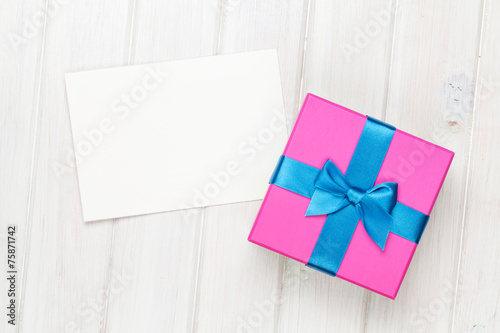 canvas print picture Photo frame card and gift box with ribbon