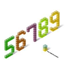 5 6 7 8 9 - Pixel Isometric Alphabet