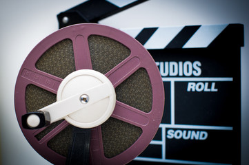 8mm purple reel with out of focus clapper in background