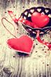 Decorative hearts in retro style