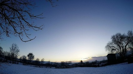 Sunrise, rural landscape in winter, time lapse.